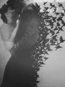 Grafica alb-negru cuplu arta, sarut