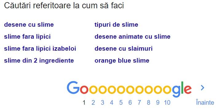 sugestii de căutare similară în Google conform căutării generate de tine