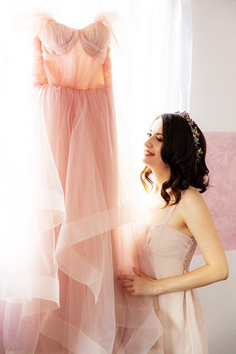rochie de mireasă roz-pudră