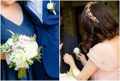 buchet nașă și cocarde La Storia pentru nunta noastră