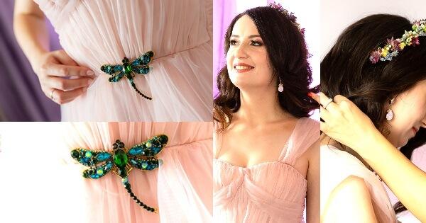 cercei și broșă libelulă pentru rochie de mireasă