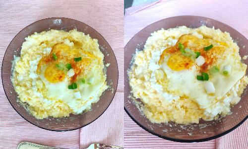 mămăligă cu brânză și smântână și ou