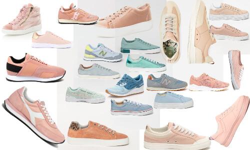 pantofi sport în culori pastelate bleu și roz prăfuit