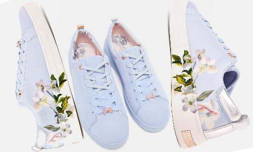 pantofi sport bleu Ted Baker stil trainers cu imprimeu floral colorat