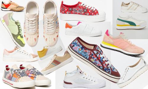 pantofi sport colorați cu imprimeuri și cu detalii colorate sau în culori metalice