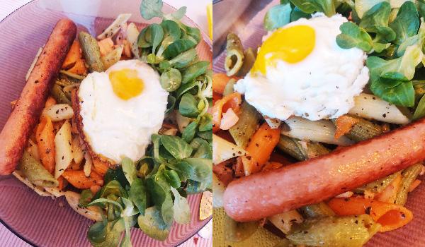paste trase în unt cu ou și crenvurșt vegetal Verdino