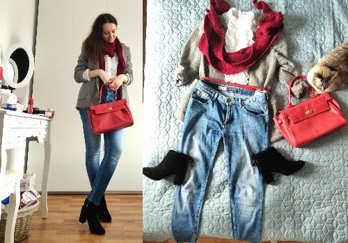ținută de primăvară cu blugi și sacou de lână plus accesorii roșii