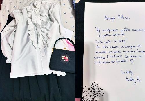 ținută vintage culottes negri, cămașă albă cu volane și poșetă englezească brodată