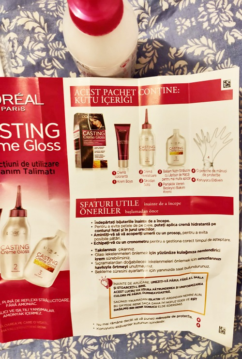 broșură și componența kit vopsea de păr semipermanentă L'Oréal Paris Casting Crème Gloss