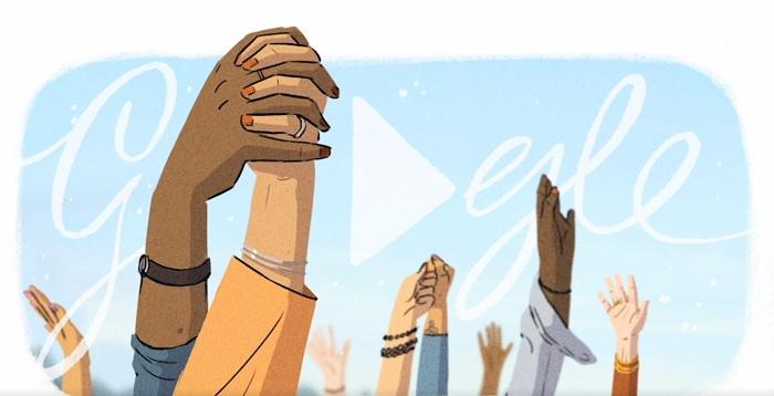 doodle Google 8 Martie ziua femeii împreună susținere reciprocă